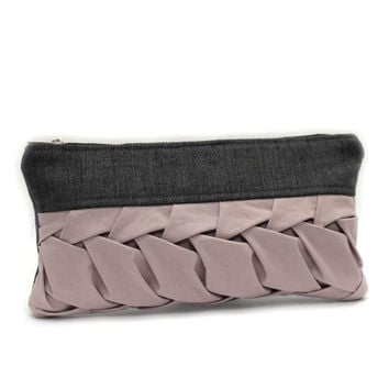 Gray Bridesmaid Purse, Wedding Party Gift, Gray Pink Clutch, Bridal Clutch Bag, Fabric Clutch Bag, Bridesmaid Gift, Gray Clutch Purse