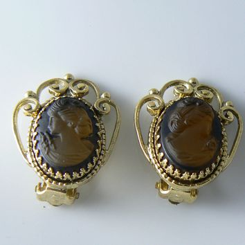 Whitting Davis Cameo Glass Earrings