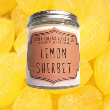 Lemon Sherbet Candle,Scented candles,soy candle,candle,girlfriend gift,boyfriend gift,gift for her,mothers day gift,gift for mom,mens candle