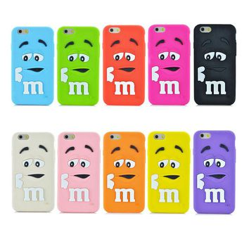Fashion Soft Silicon Back Cover 3D Cute Cartoon M&M Chocolate Beans Colorful Rainbow Bow Phone Case For iphone 5 5S 5C PT1356