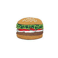 Iron on Patch-  Hamburger, Burger  Iron on Patch / Applique