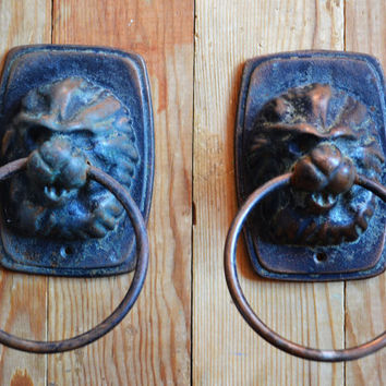 Door Knocker Lion Head - Set of 2, Door Knob, Vintage Door Handle, Knocker Lion Head, Cast Iron Knocker, Animalistic Doorknob, Door Pull