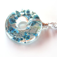 Teal Baby's Breath  Necklace - Real Baby Breath in Resin -  Pressed Flower Jewelry, Resin Necklace, Wire Wrapped Pendant,  Donut Pendant