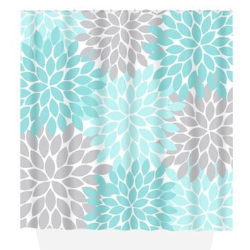 Aqua Gray SHOWER CURTAIN Custom MONOGRAM Personalized Bathroom Decor Flower Burst Floral Bath Towel,  Bath Mat Made in Usa