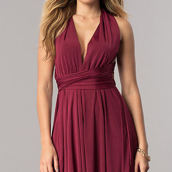 Short Party Dress with Multiple Wrap-Bodice Styles