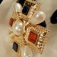 Beautiful Vintage Alfred Sung Lapis and Carnelian Glass, Faux Pearl Maltese Cross Brooch