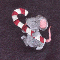 Black Christmas Towel for Kitchen or Bath with an embroidered Grey Mouse licking a big candy cane.
