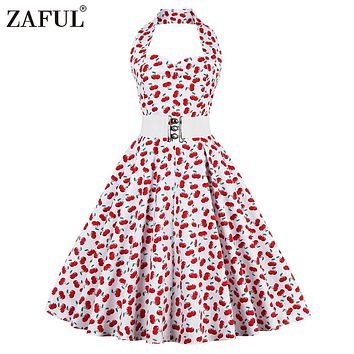 ZAFUL Red Vintage Women Dress Retro Summer Feminino Rockabilly Pin up Plaid Floral 50s 60s Sleeveless Dresses Vestidos Plus Size