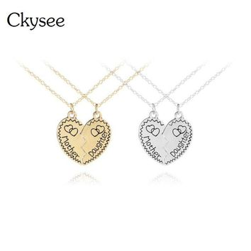 Ckysee 2pcs Mother Daughter Broken Heart Pendant Necklace For Women Gold Silver Love Charm Necklaces Mothers Day Gifts Jewelry