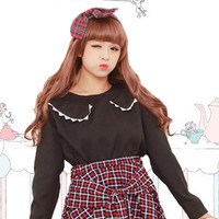 Japanese college style red plaid short skirt