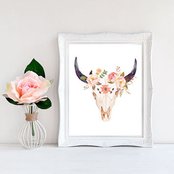 Boho printable Boho decor Boho room decor Cow skull print Southwestern art Printable gift Cow skull decor Cow skull wall art Cow head print