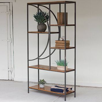 Wood and Metal Shelving Unit with Demilune Detail