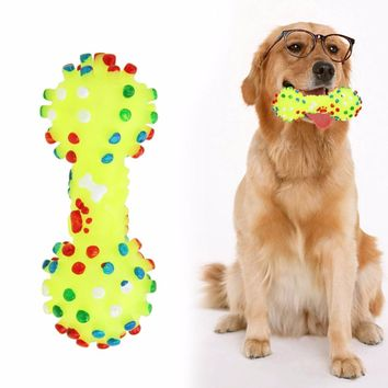 Dog Toys  Colorful Dotted Dumbbell Shaped Dog Toys Squeeze Squeaky Bone Pet Chew