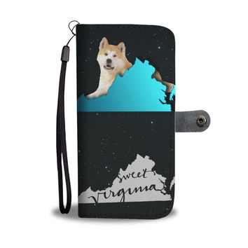 Akita Dog Print Wallet Case-Free Shipping-VA State