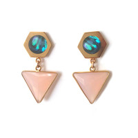 Gold Hexangular Earrings (abalone inlay)