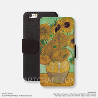 Sunflower Van Gogh Painting iPhone leather wallet cover Free Shipping iPhone 6 6 Plus 5S 5C case cover, Samsung Galaxy S3 S4 S5 Note 2 Note 3 Note 4 case cover 158