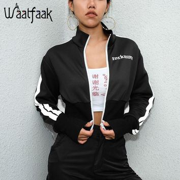 Trendy Waatfaak Women Outwear Spring Autumn Jacket Crop Zipper Jacket Embroidery Letter Long Sleeve Black and White Striped Jacket 2018 AT_94_13