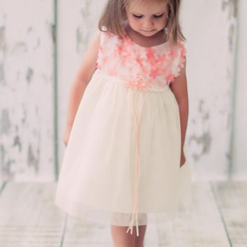 Coral & Ivory Chiffon Dimensional Flowers & Tulle Overlay Satin Dress (Baby Girls)