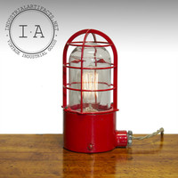 Vintage Industrial Red Crouse-Hinds Condulet Explosion Proof Desk Lamp Steampunk Decor Table