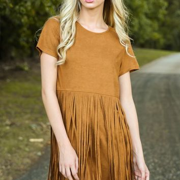Fringe Dare My Wild Heart Camel Dress