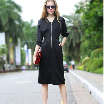 Black V-Neck Zippered Mid-Sleeve A-Line Dress