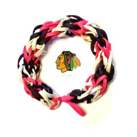 NHL Chicago Blackhawks Sports Bracelet - Red Black and White Rubber Bands - Hockey Spirit Wear, Go Hawks Colors, Stanley Cup