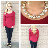 Burgundy Long Sleeve Peplum Top with Necklace
