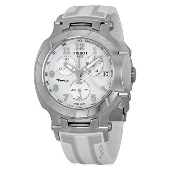 Tissot T-Race Chronograph White Grey Dial White Silicone Mens Watch