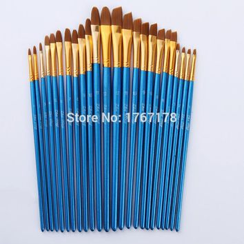 24pcs/ set nylon hair  Blue wooden handle paint brush art supplies