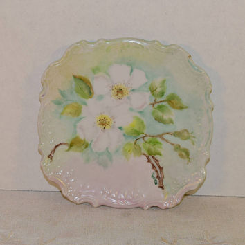 Artist Signed Magnolia Plate Vintage Hand Painted Floral Decorative Plate Scalloped Embossed Afternoon Tea Party Dish Gifts for Her