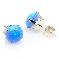 Sky: 6mm Azure Blue Created Opal Crown Set Cab Stud Post Earrings, Solid 925 Sterling Silver