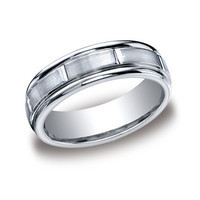 Benchmark Cobalt 7mm Satin-Finished and High Polished Grooves Wedding Band