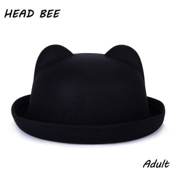 [HEAD BEE] 2017 Fashion Trend Fedora Hat Unique Cute Adult Wool Winter and Autumn Floppy Hat With Ears Female Gorro for Women