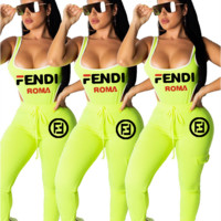 FENDI Women Fashion Strap Top Pants Two-Piece