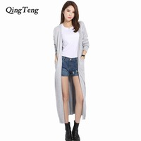 Long Cardigan Solid Cashmere V-Neck Open Cardigan Mujer Women Knitted Sweater Casual Loose Design Candy Color Gray Maxi Cardigan