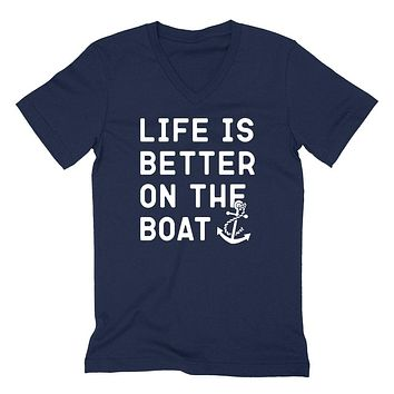 Life is better on the boat, fishing, camping, funny saying, workout graphic V Neck T Shirt