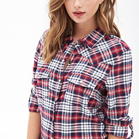 FOREVER 21 Western-Inspired Plaid Flannel Cream/Red