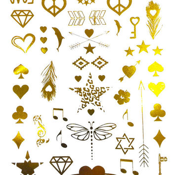 Pop Culture Metallic Tattoo Gold Silver Festival Beach Holiday Gift Present Flash Tattoo Birthday Gift For Her
