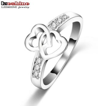 LZESHINE  Eternity Love Promise Rings For Women Silver Color Double Heart Wedding Engagement Ring CRI0047-B