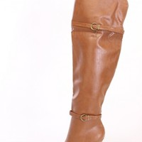 Tan Thigh High Heel Boots Faux Leather