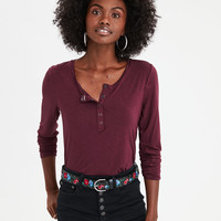 AE Soft & Sexy Long Sleeve Henley T-Shirt, Burgundy