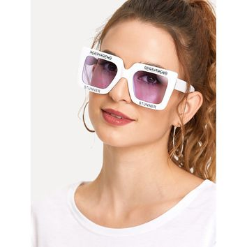Letter Tape Frame Sunglasses PURPLE