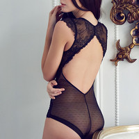 Lace Hollow Out Ladies Sexy Deep V Exotic Lingerie = 5990547521