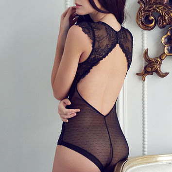 Cute Hot Deal On Sale Sexy Hollow Out Lace One-piece Deep V Ladies Exotic Lingerie [6594653187]