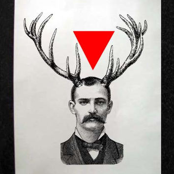 Spooky Man with Antlers and Triangle Mixed Media Illustration Art Print for Home Wall Decor