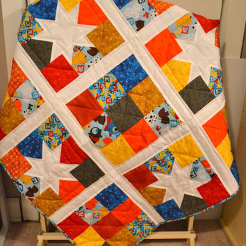 Primary Color Baby Quilt, Boys Crib Quilt, Modern Nursery Bedding, Toddler Blanket, Stars and Nine patch blocks Ready to Ship, Handmade