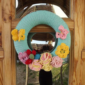 Spring Wreath # Home Decor #Flower #Butterfly #Sunshine #Spring #Crocheted #Handmade