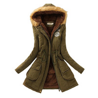 Winter Women Coat 2017 Parka Casual Outwear Military Hooded Coat Woman Clothes Fur Coats manteau femme Winter Jacket Women C001