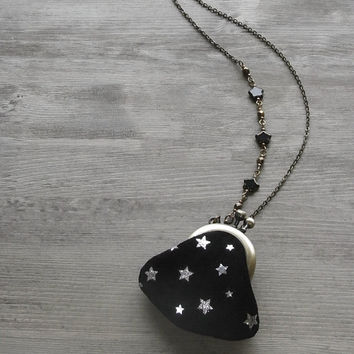 purse necklace, celestial necklace, night sky, silver stars, star purse, silver star necklace, shiny star, moon necklace, leather necklace