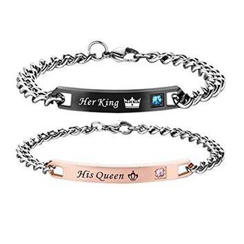 Paris Selection His Queen Her King Matching Bracelet for Couple in Gift Box 2 Pcs His and Hers